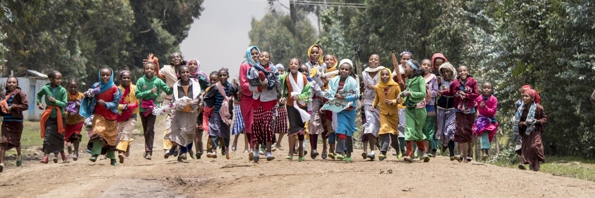 This picture is of school children in the Central Ethiopian region of Oromia. This photo gives the readers a glimpse of children in the area.