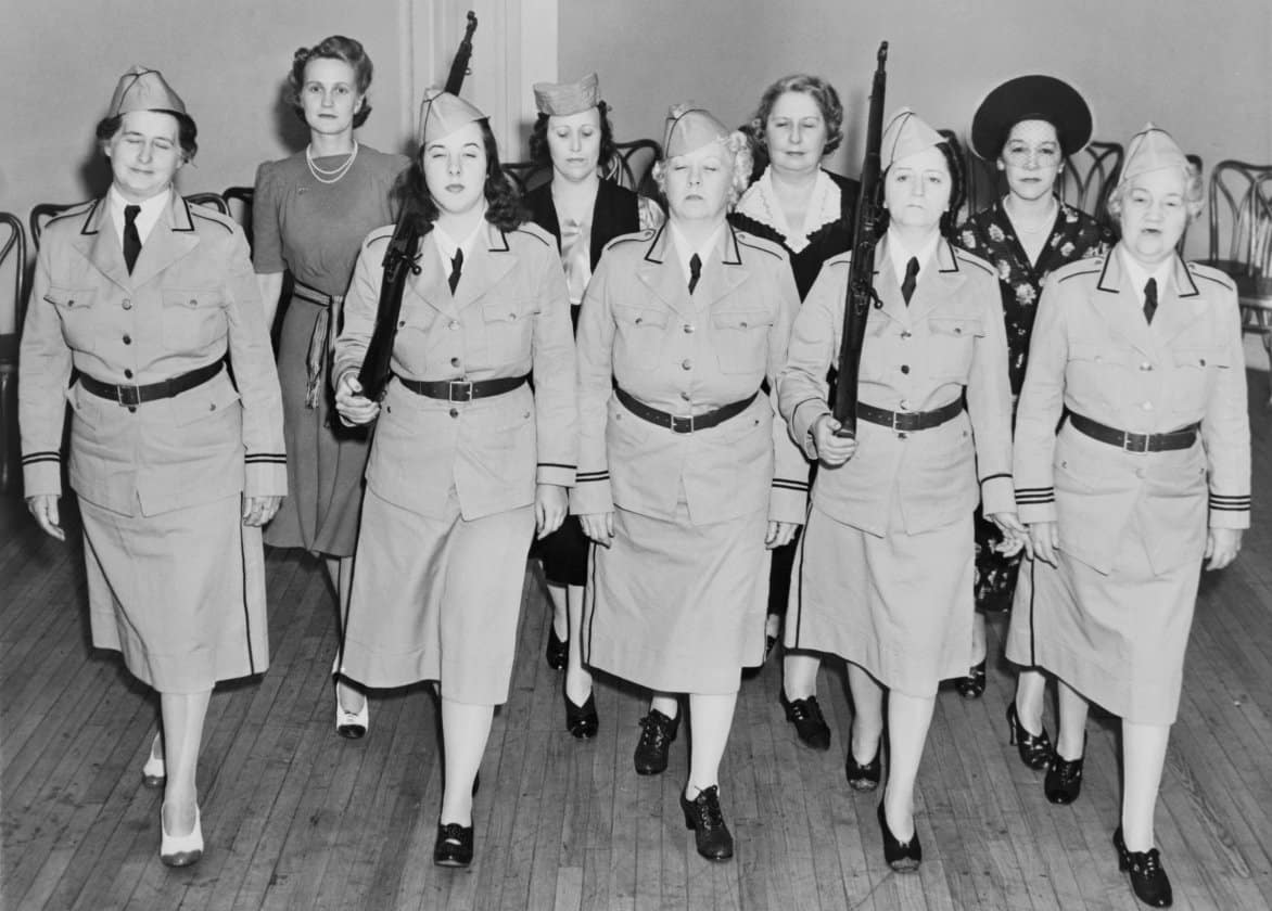 Newark-Women-in-a-Civil-Defense-unit-in-drill-practice-Newark-N.J.-in-1940.-Molly-Pitcher-Brigade-was-formed-a-year-before-the-U.S.-entered-World-War-2.-e1570113840123.jpg